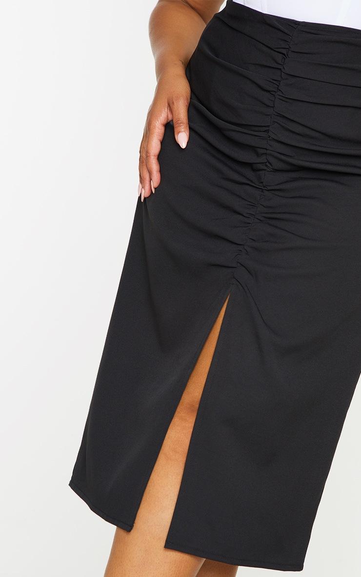 Plus Black Ruched Detail Split Skirt 5