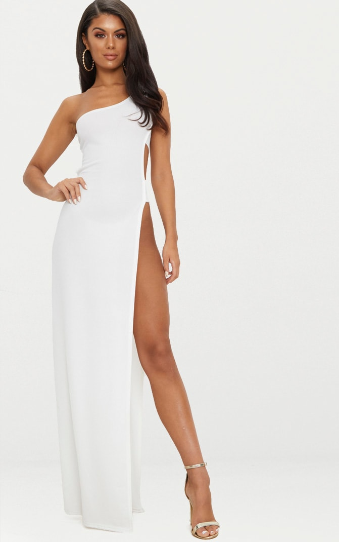 b4d85f444 White One Shoulder Extreme Split Cut Out Detail Maxi Dress image 1