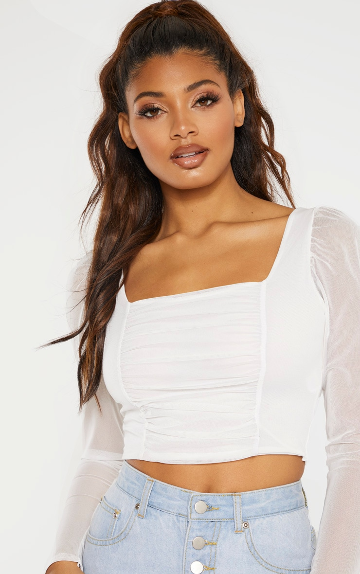 Tall White Square Neck Mesh Ruched Long Sleeve Crop Top 5