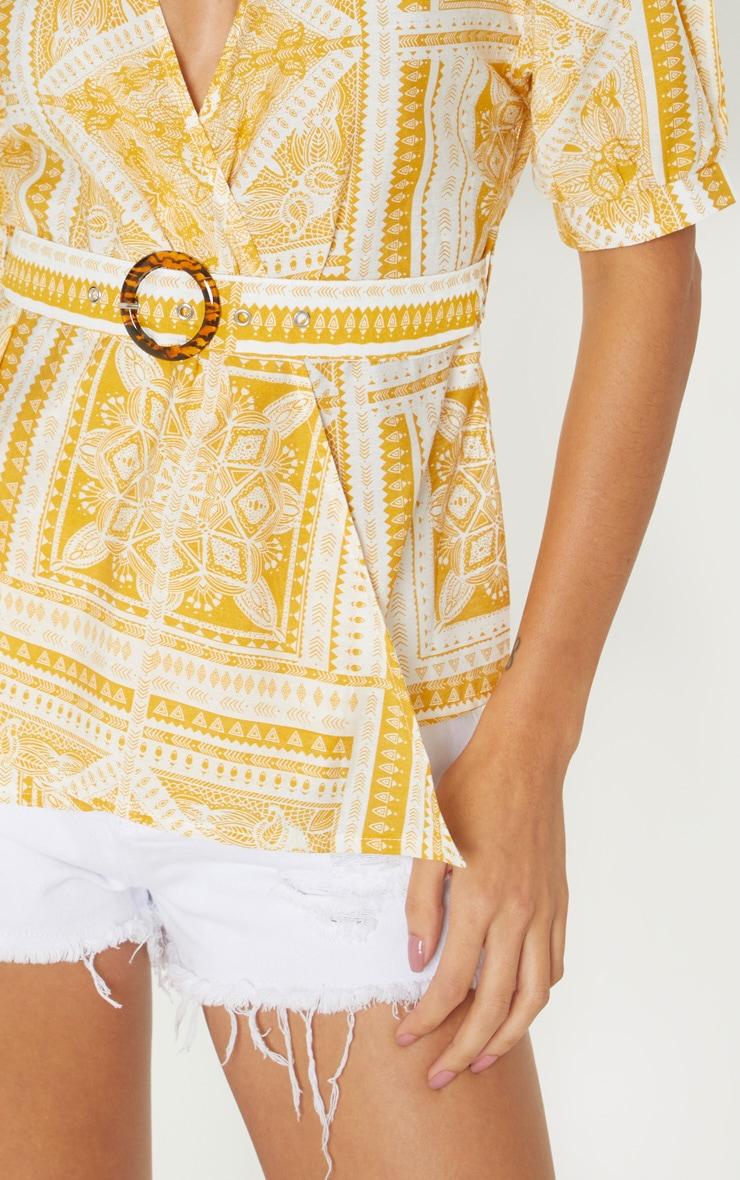Mustard Paisley Plunge Belt Detail Bardot Top 5