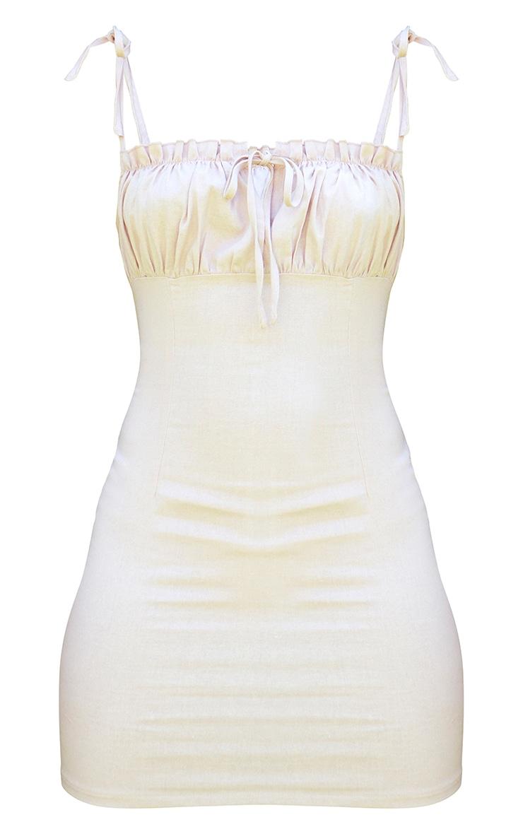 Beige Ruched Bust Tie Strap Detail Bodycon Dress 5