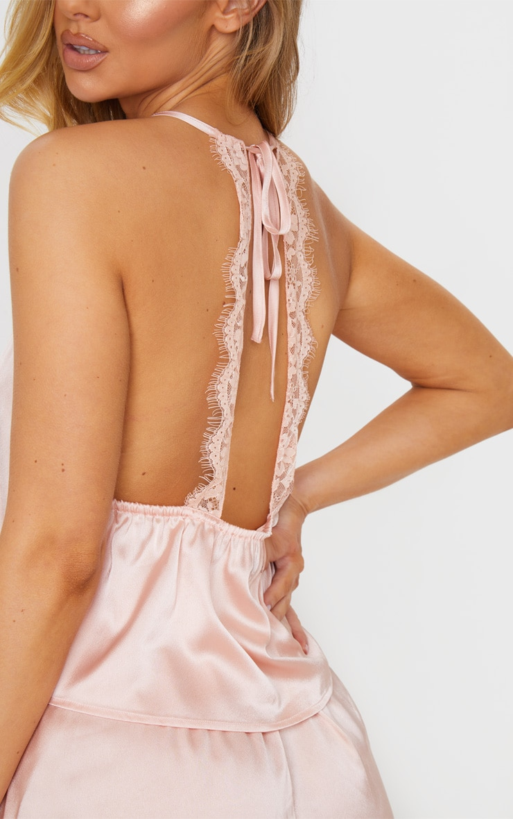 Pink Lace Back Cami Satin Pj Set 3