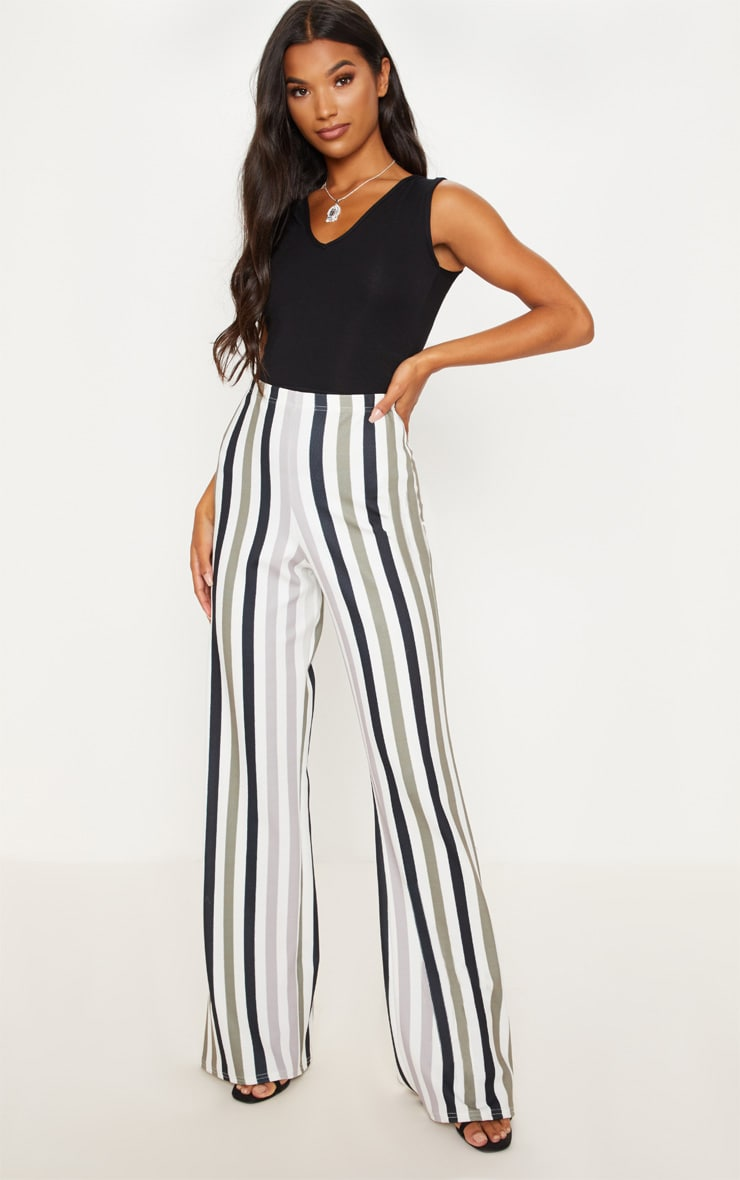 Monochrome Ombre Stripe Wide Leg Trouser