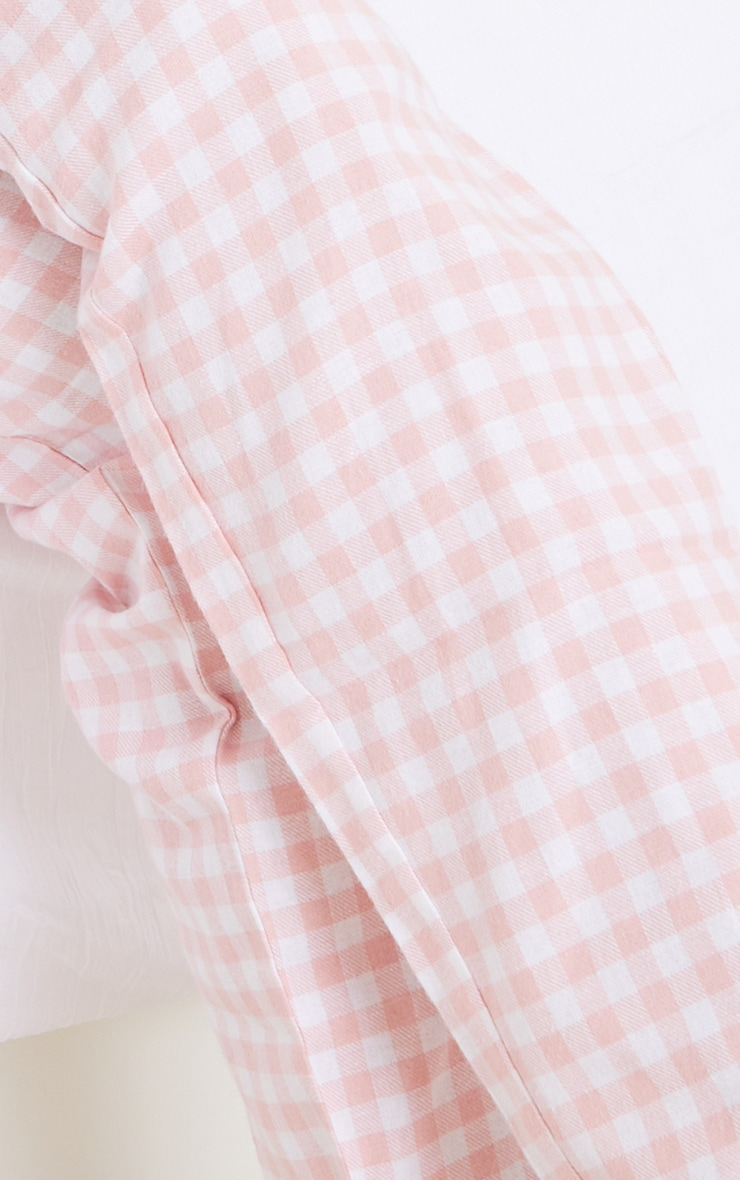 Pale Pink Mix And Match Tie Waist Check PJ Trousers 4