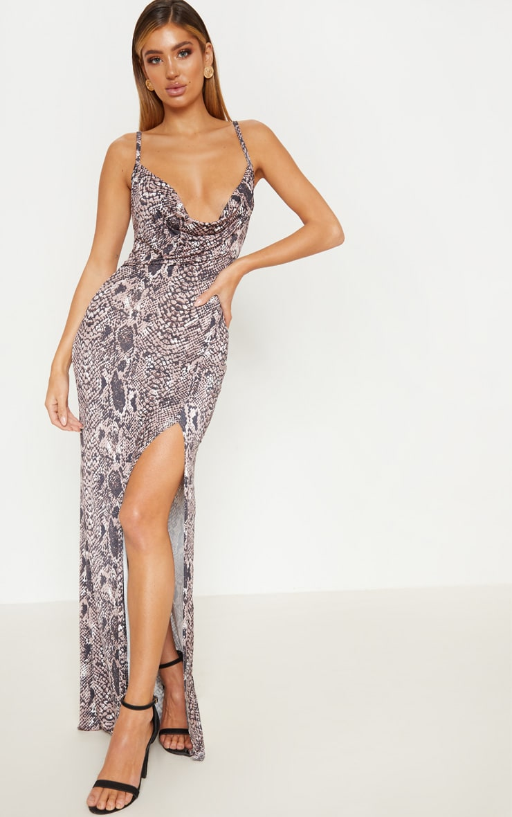 Taupe Snake Print Cowl Maxi Dress 2