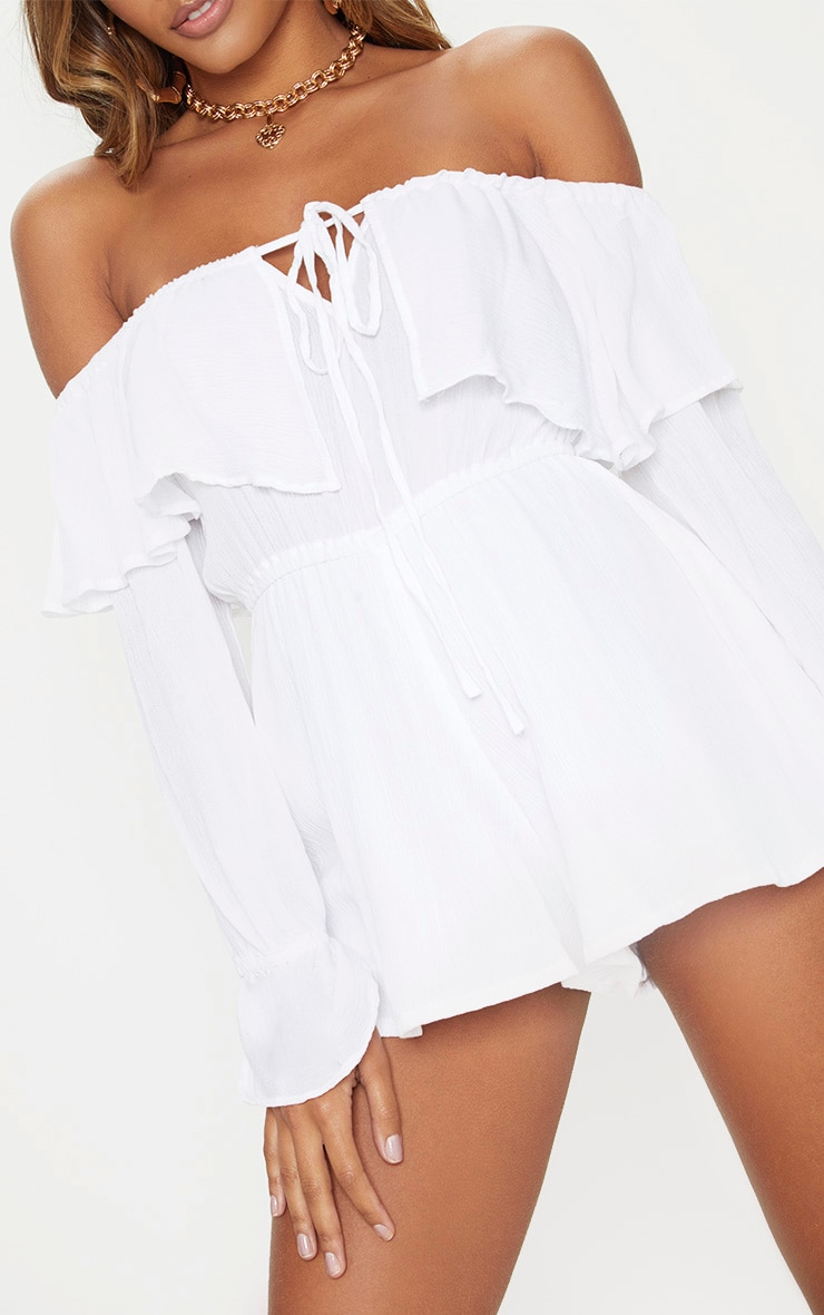 White Cheesecloth Bardot Playsuit 5