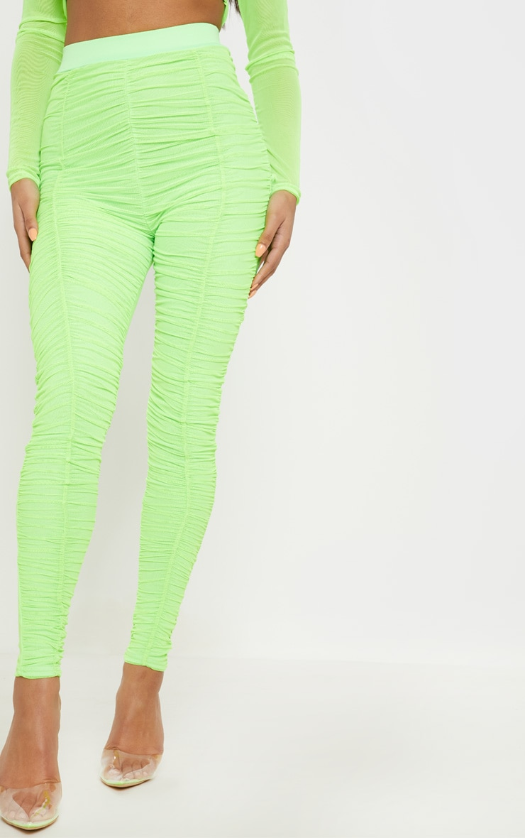 Neon Lime Mesh Ruched Detail Legging 2