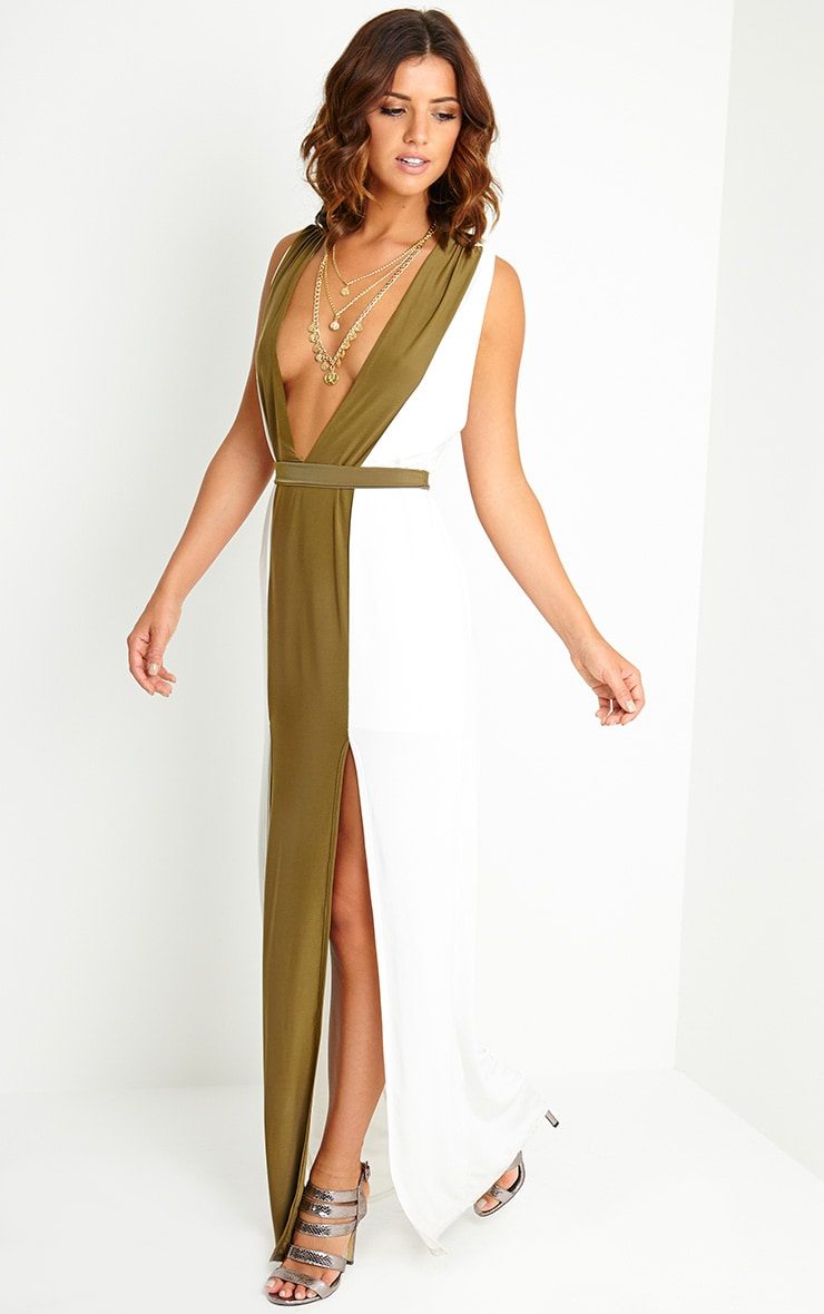 Maya Cream Belted Maxi Dress 1