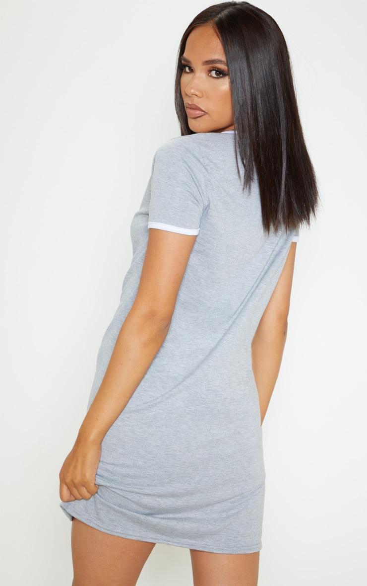 Grey Contrast Trim Jersey T Shirt Dress 2