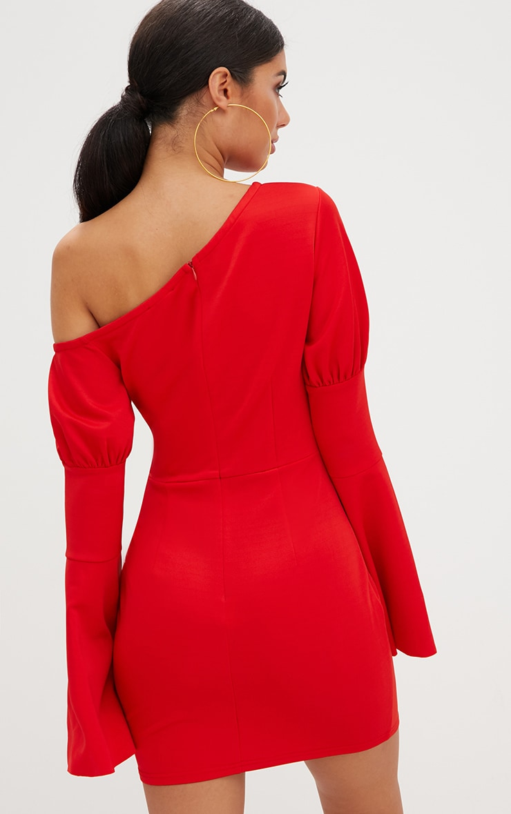 Red One Shoulder Balloon Sleeve Cut Out Bodycon Dress 2