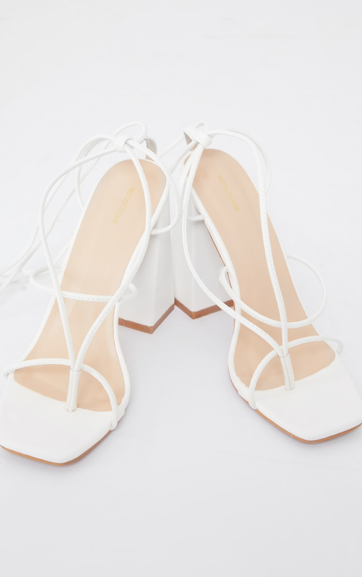 White PU Toe Detail Lace Up High Block Heeled Sandals 3