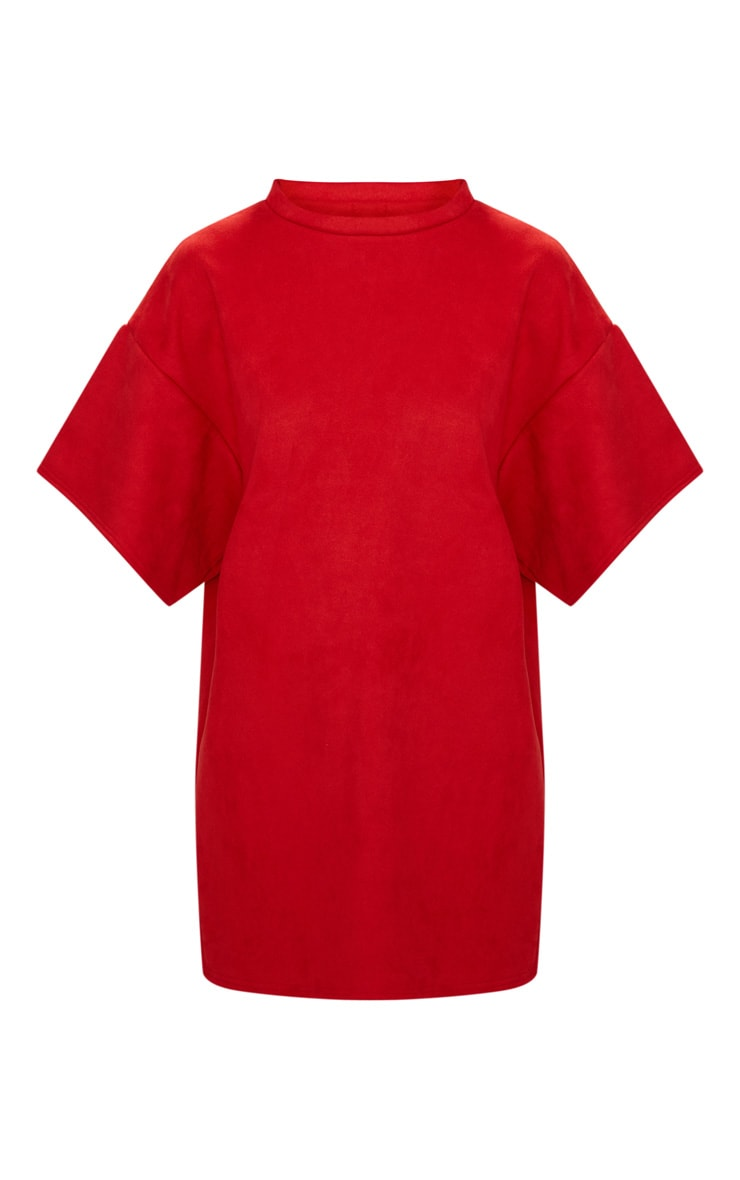 Red Faux Suede Oversized T Shirt Dress 3