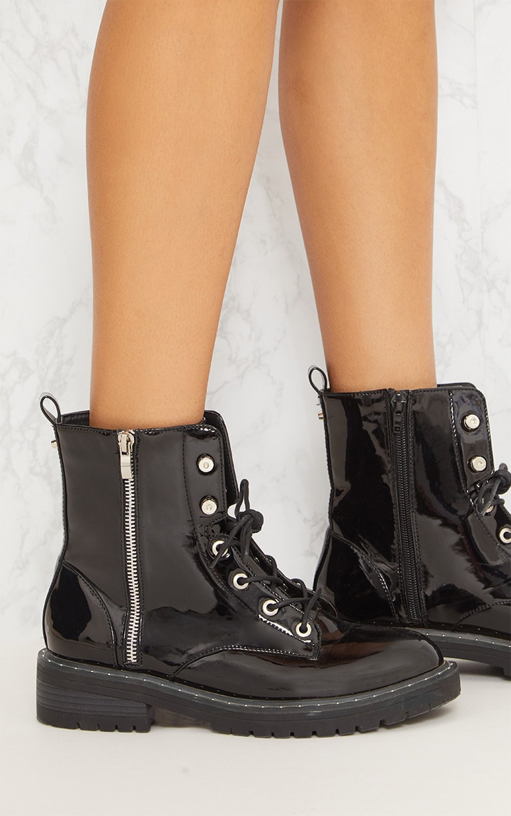 Black Chunky Lace Up Boot 6