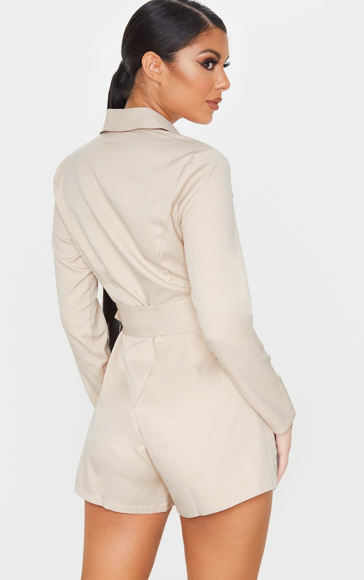 Nude Long Sleeve Tailored Belted Playsuit 2
