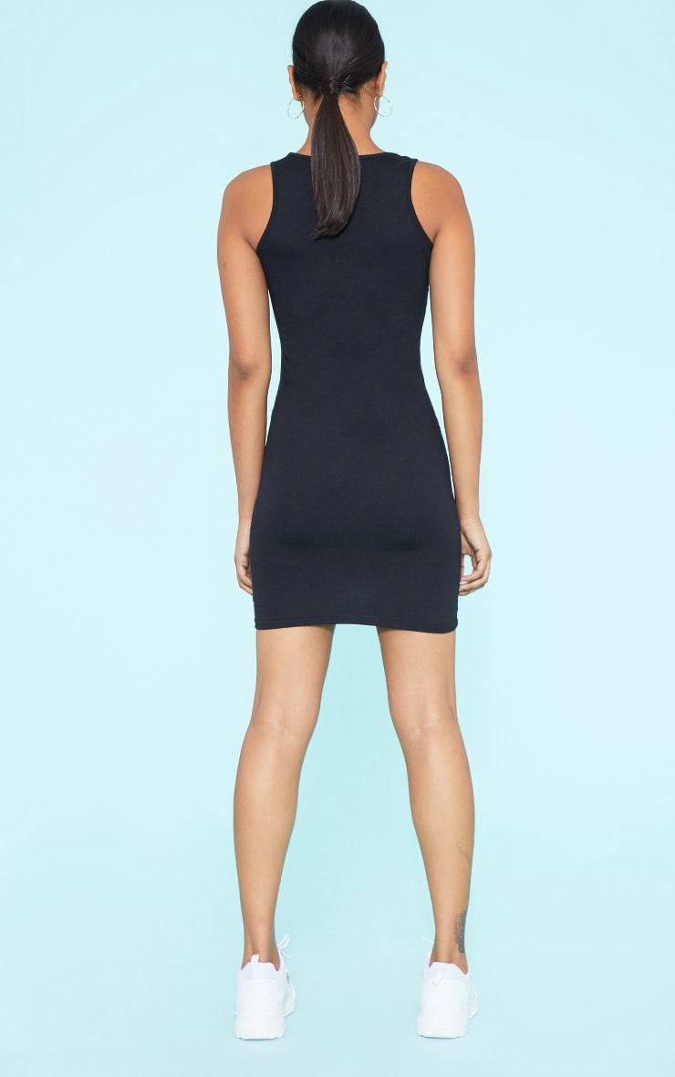 RECYCLED Black Square Neck Sleeveless Bodycon Dress 5
