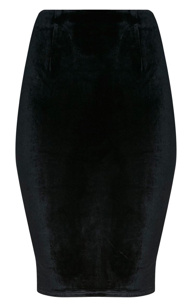 Whitney jupe midi noire en velours 3
