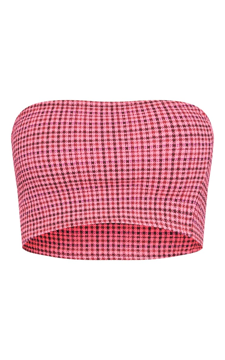 Shape Pink Dogtooth Bandeau Crop Top 3