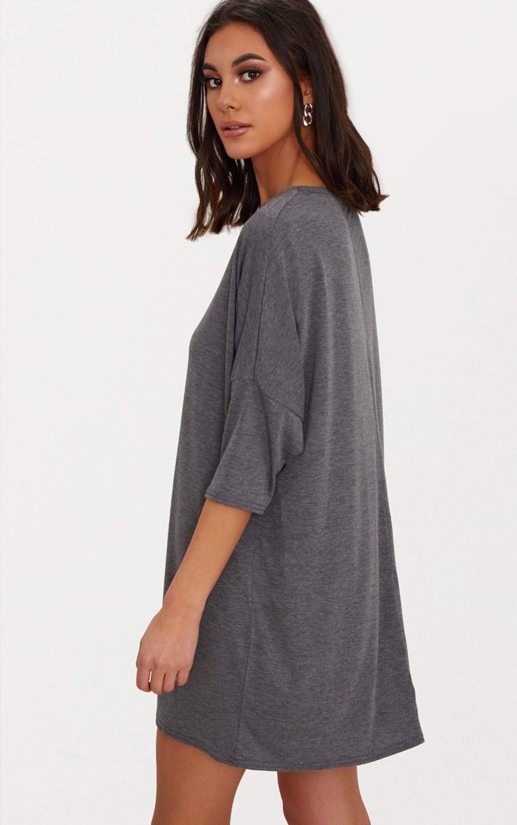 Basic Charcoal Oversized Batwing T Shirt Dress 2