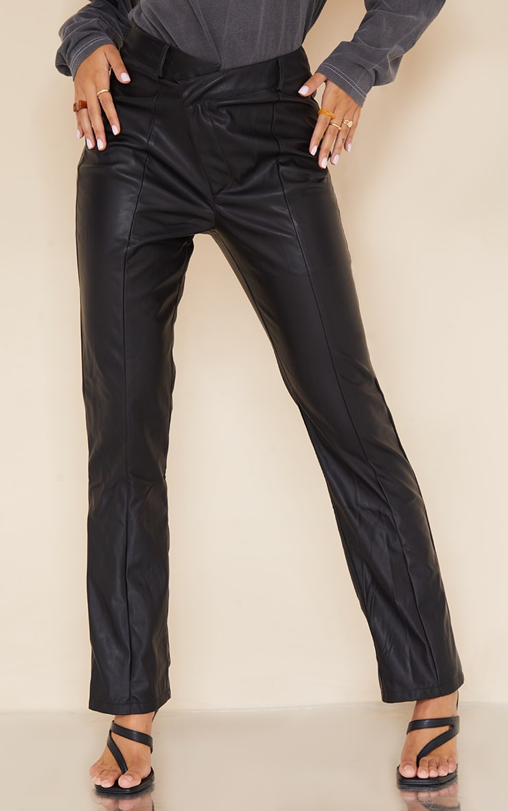 Black Faux Leather V Front Straight Leg Trousers 2