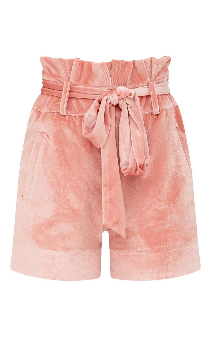 Pink Velvet Paperbag Shorts 3
