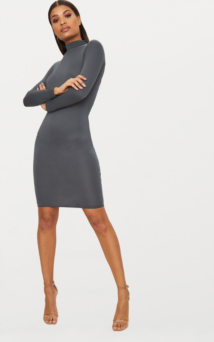 Basic Charcoal Grey Roll Neck Midi Dress
