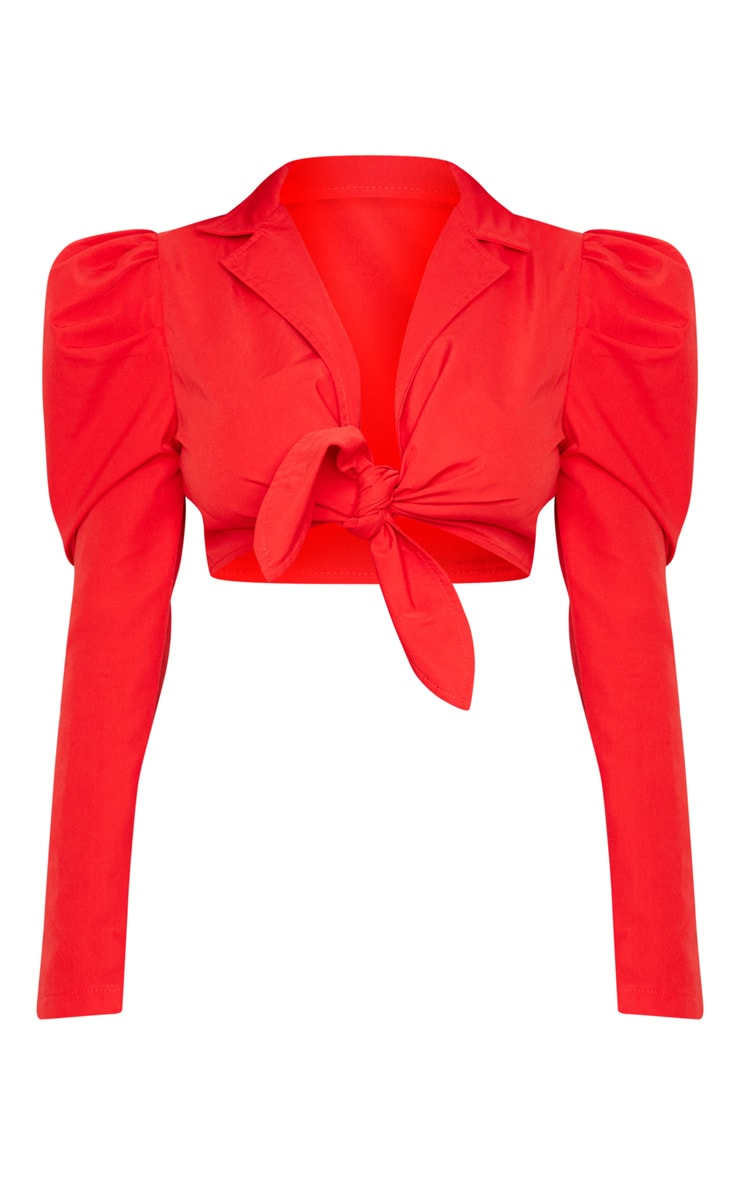 Red Puff Sleeve Tie Front Crop Blouse 3