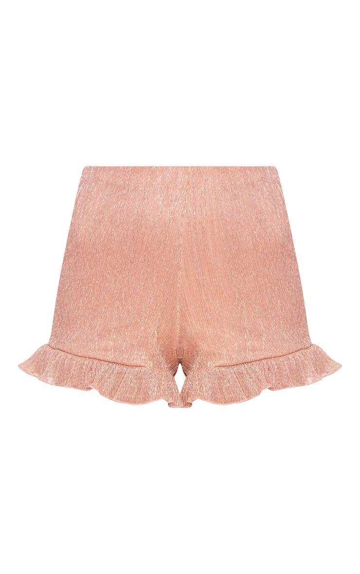 Rose Gold Metallic Pleated Frill Hem Shorts 3
