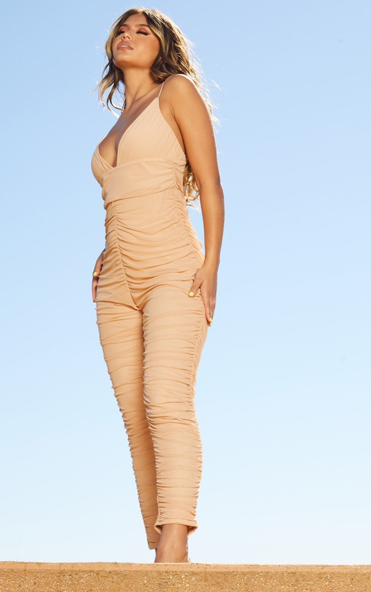 Nude Second Skin Ruched Mesh Jumpsuit 4