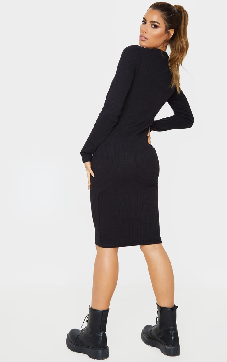 Tall Black Knitted Long Sleeve Midi Dress  2