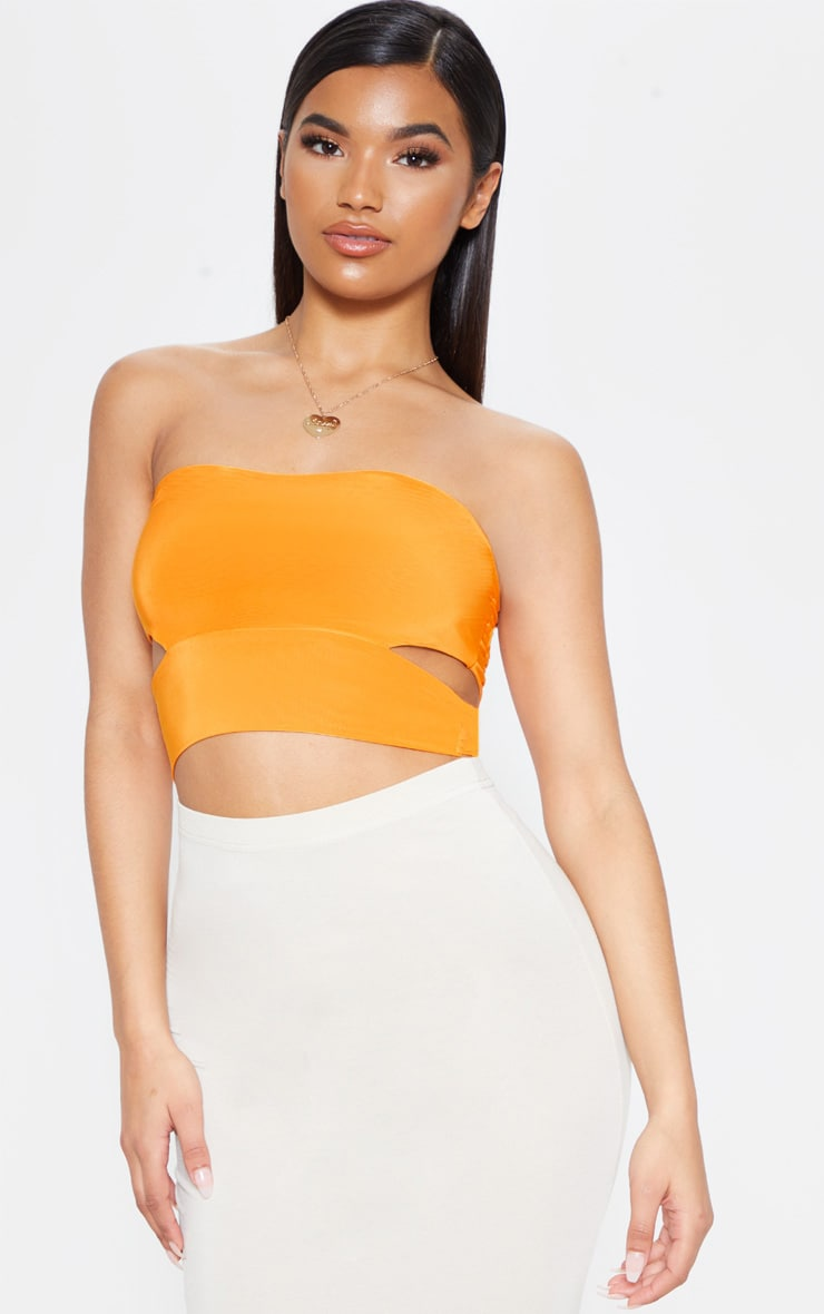 Denise Orange Cut Out Side Slinky Bandeau  1