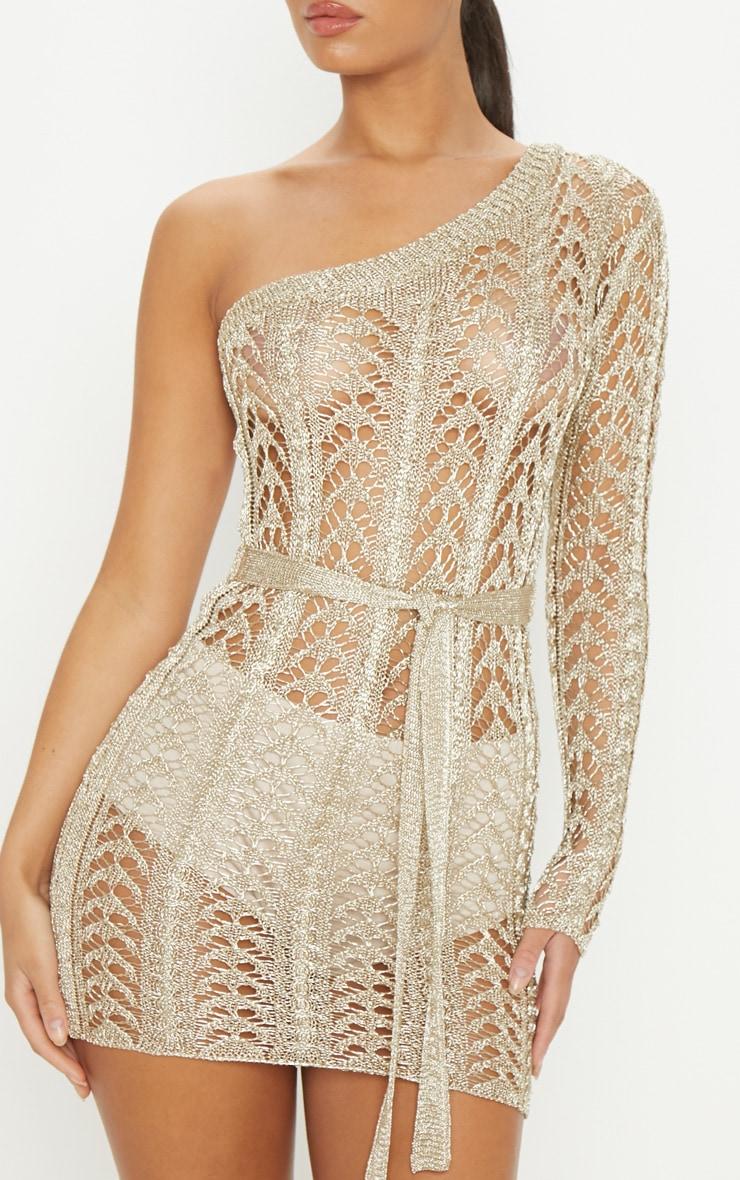 Gold Metallic Knitted Detail One Shoulder Mini Dress  5