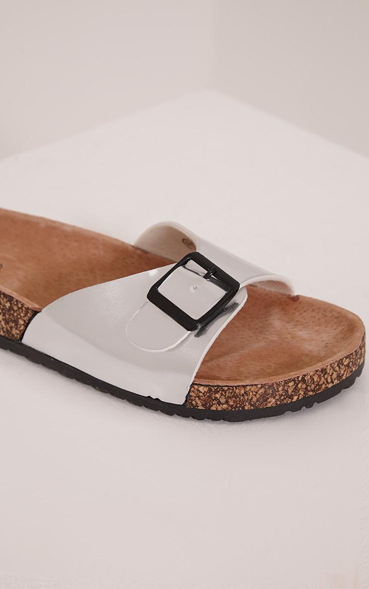 Liliy Silver Metallic Slip On Sandals 5