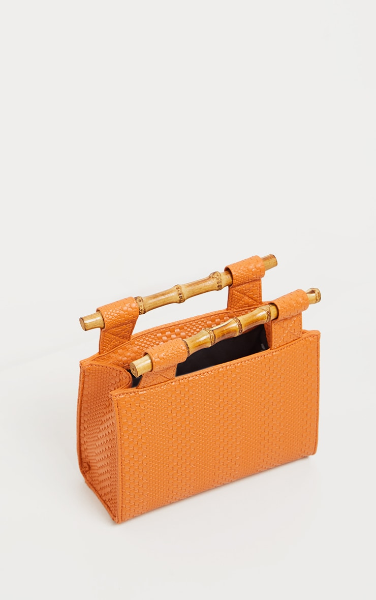 Orange Bamboo Handle Embossed Grab Bag 2