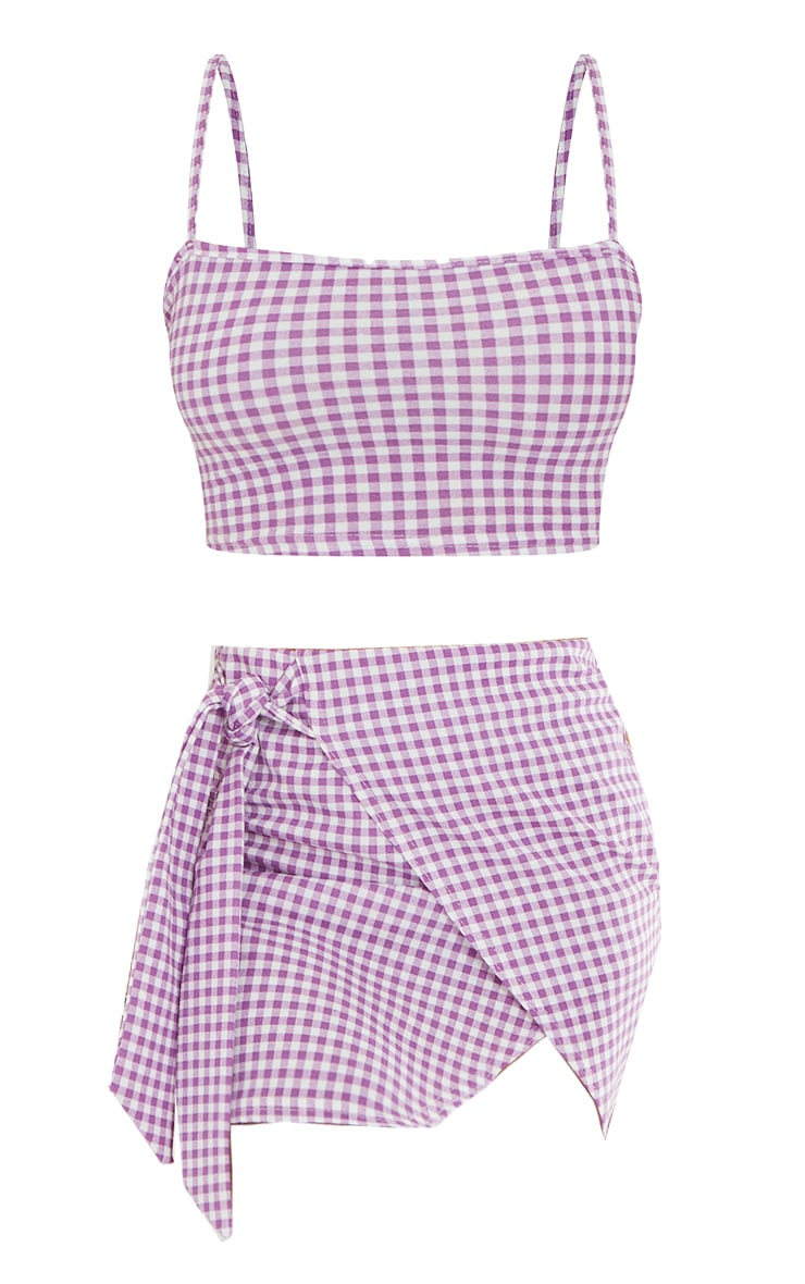 Violet Gingham Check Crepe Strappy Crop Top & Tie Waist Mini Skirt Set 5