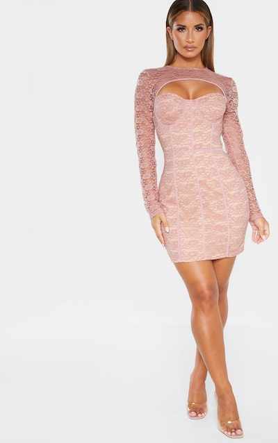 Dusty Rose Lace Cut Out Cup Detail Binding Bodycon Dress