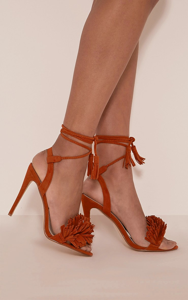 Kasi Orange Fringe Detail Heeled Sandals 2