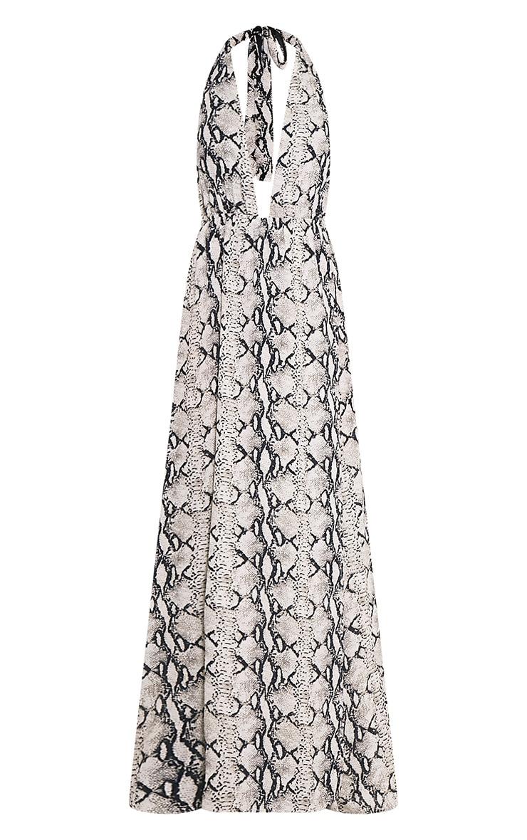 Alina robe maxi chair décolleté plongeant imprimé serpent 3