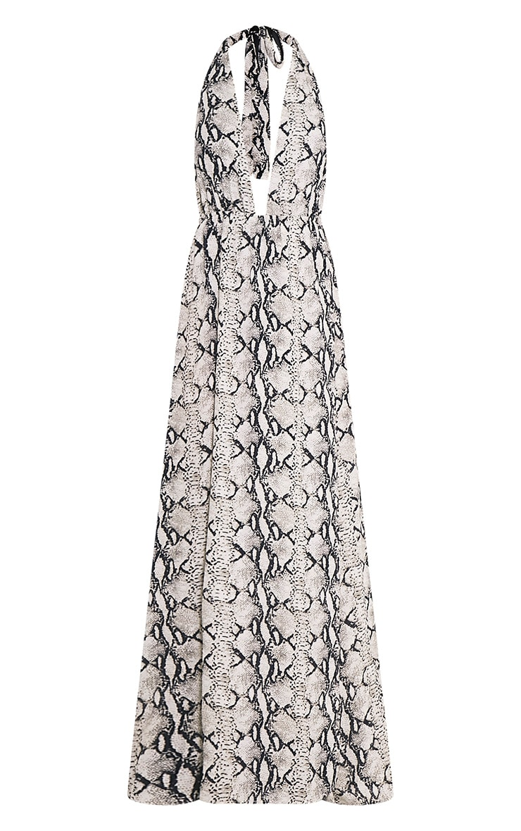 Alina Nude Snake Print Plunge Maxi Dress 3