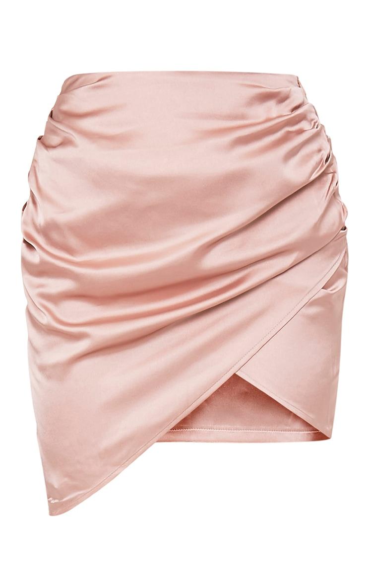Aras Champagne Satin Ruched Mini Skirt 4
