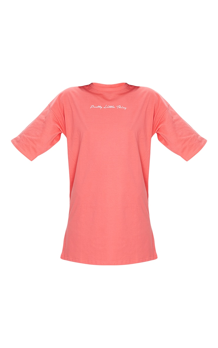PRETTYLITTLETHING Coral Slogan Oversized Boyfriend T Shirt Dress 5