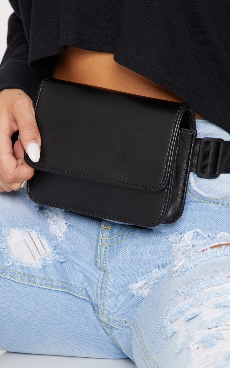 Black PU Rectangle Bum Bag 2