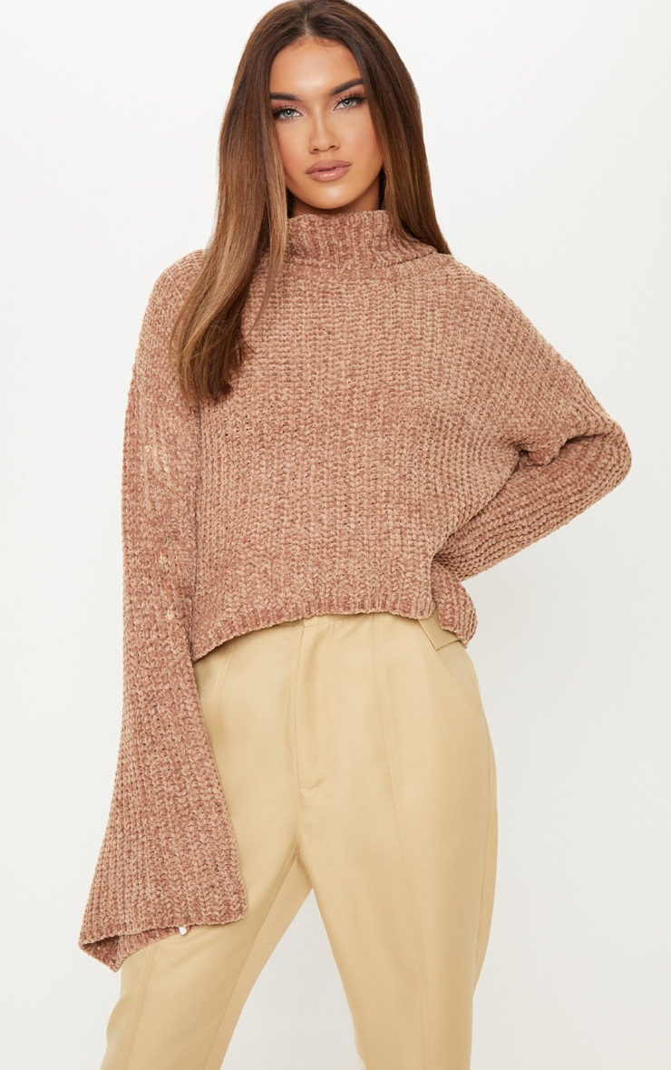 Camel Chenille Cropped High Neck Knitted Sweater  1
