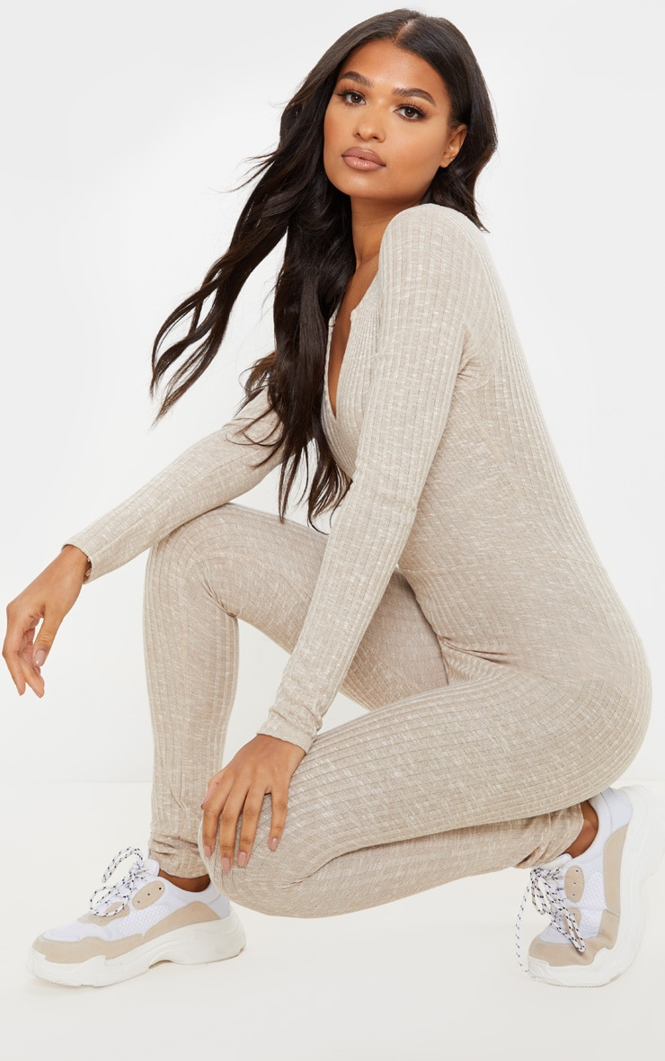 Oatmeal Open Neck Fitted Jumpsuit 5