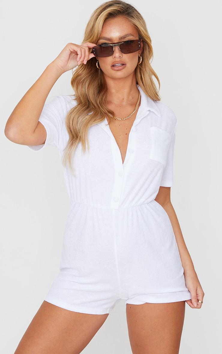 White Towelling Short Sleeve Shirt Romper