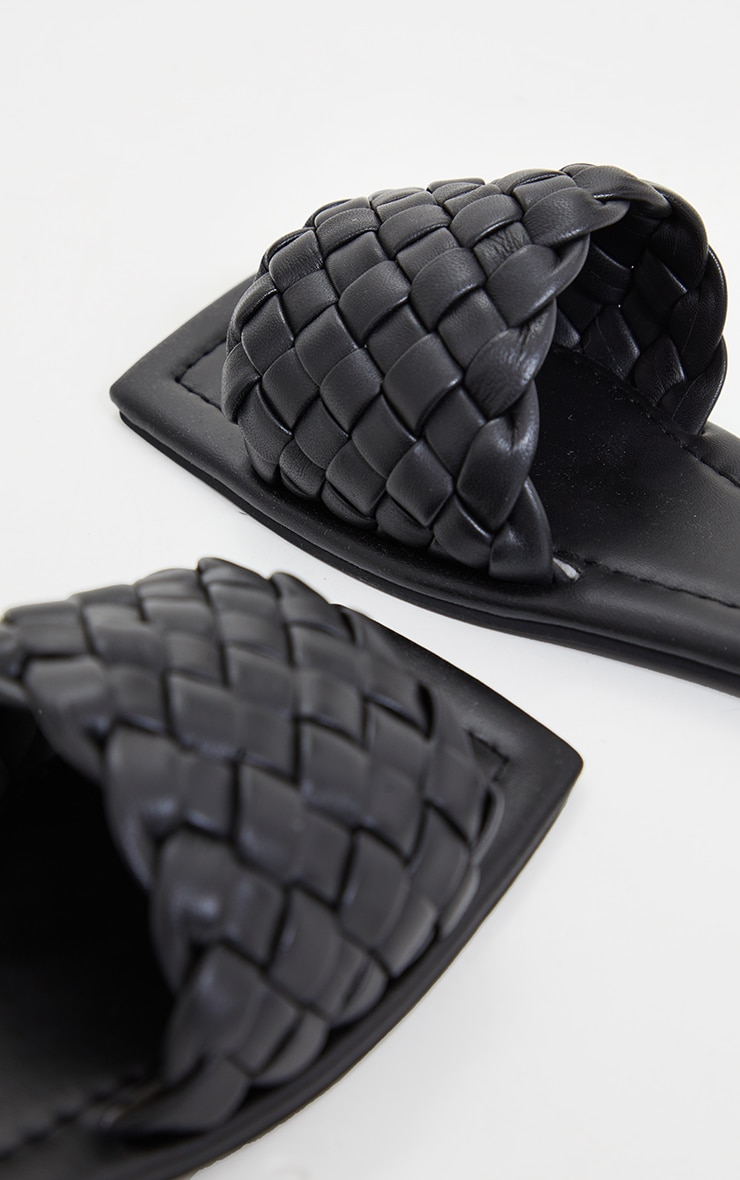 Black Real Leather Square Toe Chunky Basket Weave Mule Sandals 4