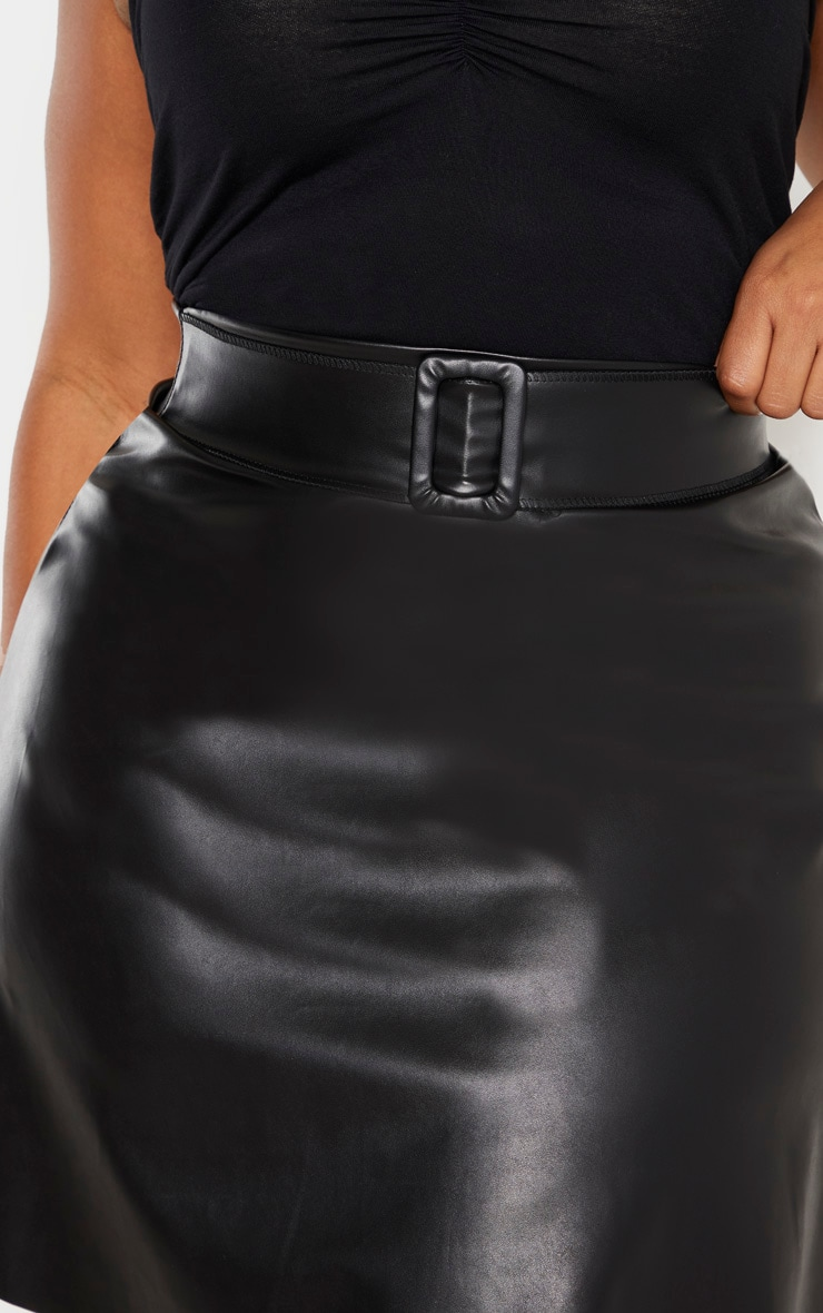 Plus Black Faux Leather Belted Skater Skirt 6