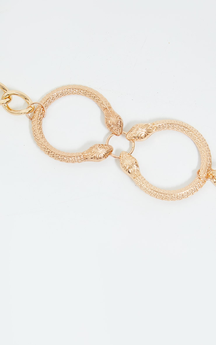 Gold Double Ring Snake Choker 3
