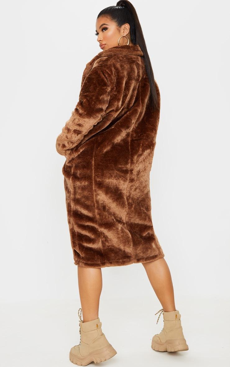 Brown Faux Fur Coat  2