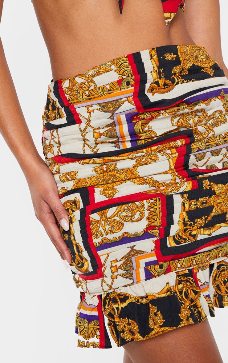 Multi Chain Print Pleated Mini Skirt 6