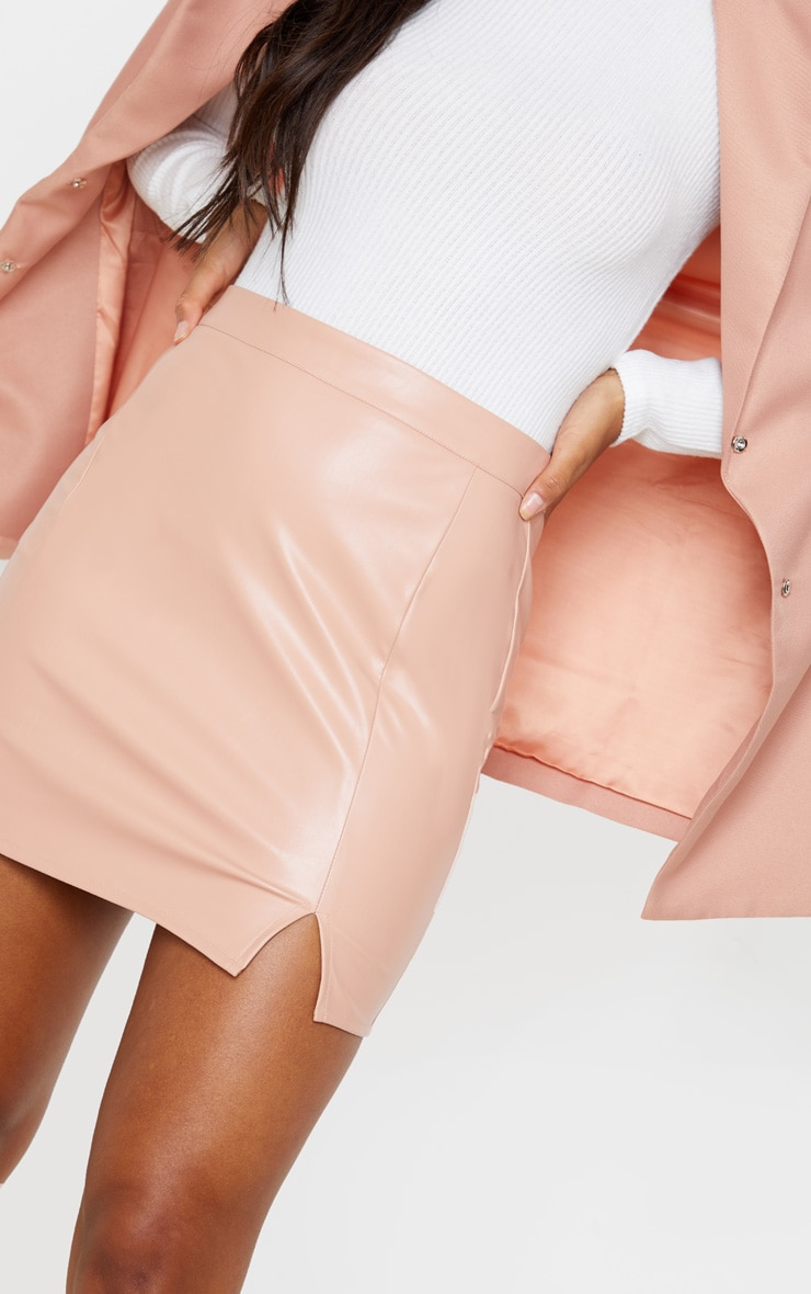 Blush Faux Leather Split Mini Skirt 6